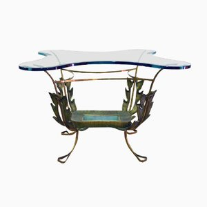 Mid-Century Italian Painted Brass and Glass Coffee Table by Pierluigi Colli, 1950s