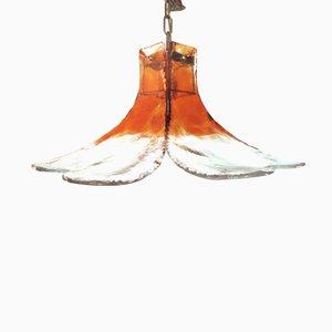 Lámpara austriaca en forma de flor de vidrio de J.T. Kalmar para Kalmar, años 70