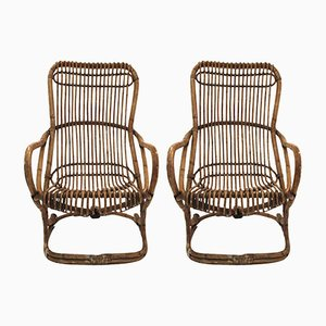 Italian Bamboo Armchairs, 1970s, Set of 2