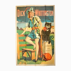 Poster vintage Dick Whittington Pantomime di Taylors of Wombwell, Inghilterra, anni '30