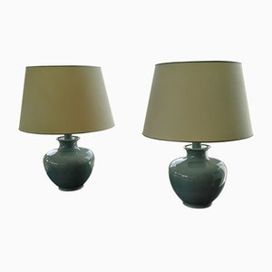 Celadon Green Ceramic Table Lamps from Cardinal, 1958, Set of 2