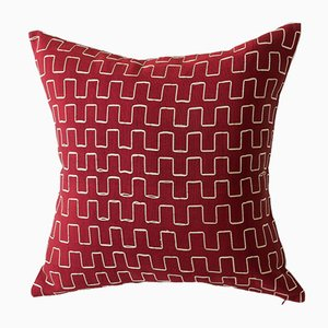 Edo Decorative Pillow in Red and Gold by Nzuri Textiles, 2015