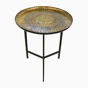 Table d'Appoint Ronde Emaillée, Italie, 1960s
