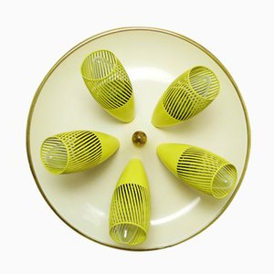 German Ceiling Lamp with Five Slotted Yellow Shades, 1950s