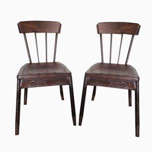 Französische Metall & Eichenholz Stühle, 1929, 2er Set