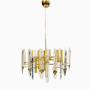 Large Gold-Plated Crystal Chandelier with Twelve Lights by Gaetano Sciolari
