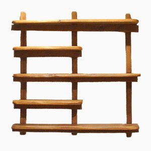 Brutalist Massive Oak Wood Shelving, 1950s