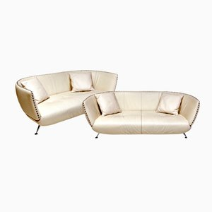 Swiss Ivory Leather Sofas from de Sede, 1980s, Set of 2