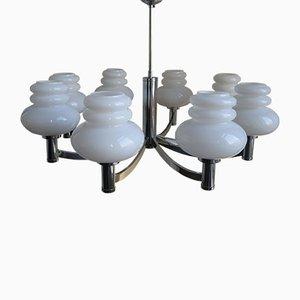 Lámpara vintage grande con ocho pantallas de vidrio de Kaiser Leuchten