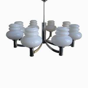 Large Vintage Lamp with Eight Glass Shades from Kaiser Leuchten