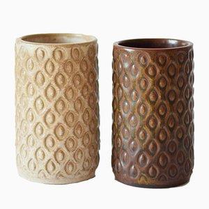 Skandinavische Mid-Century Vasen von L Hjorth, 1950er, 2er Set
