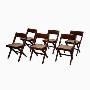 Sedie da biblioteca di Pierre Jeanneret, 1959, set di 6