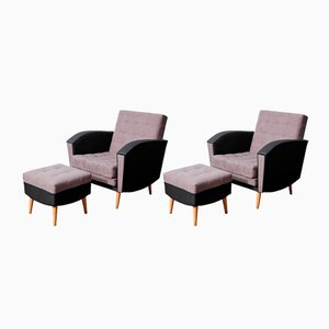 German Armchairs and Ottomans, 1960s, Set of 4