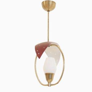 Mid-Century Scandinavian Opaline Glass Ceiling Lamp, 1950s