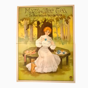 British Victorian Mazawattee Tea Two-Sheet Poster from Stafford Printers