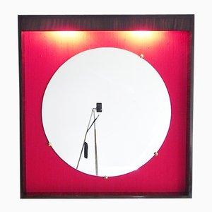 Französischer Spiegel aus Macassar, Seide, und Messing, 1960er