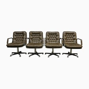 Mid-Century Brown Leather and Aluminum Lounge Chairs, 1960s, Set of 4