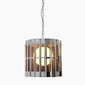Lampada da soffitto a forma di gabbia cromata