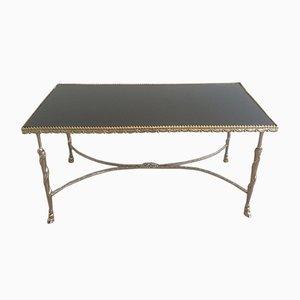 Table Basse Vintage avec Dessus Noir en Verre et Pieds en Forme de Sabot, 1940s