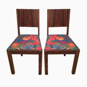 Art Deco Macassar Ebenholz Stühle, 1930er, 2er Set