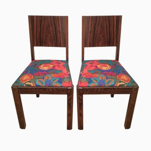 Art Deco Macassar Ebony Chairs, 1930s, Set of 2