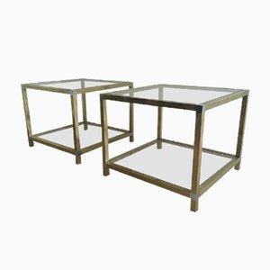 Mesas de latón y níquel, años 70. Juego de 2