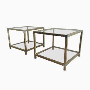 Tables en Laiton et en Nickel, 1970s, Set de 2