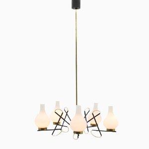 Lámpara de araña italiana de vidrio y latón, años 60