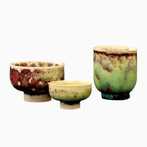 Miniature Glazed Stoneware Bowls by Stig Lindberg for Gustavsberg, 1970, Set of 3
