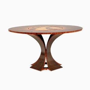 Tavolo in legno di palma e mogano con centro girevole, anni '70