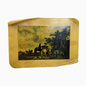 Mid-Century Italian Lacquered Parchment Wall Plaque