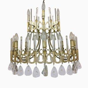 Lámparas de araña Mid-Century plateadas de cristal de Gaetano Sciolari