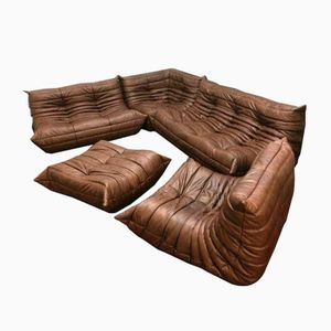 Brown Leather Togo Sofa Set by Michel Ducaroy for Ligne Roset, 1960s