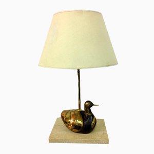 Lámpara de latón con pato, años 70