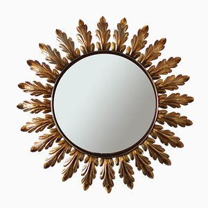 French Sunburst Mirror with Curved Leaves, 1950s