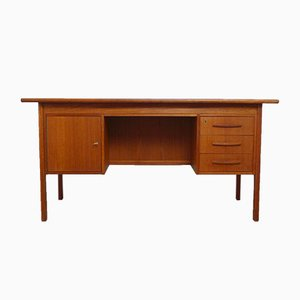 Danish Teak Desk with Rear Bookshelf, 1960s