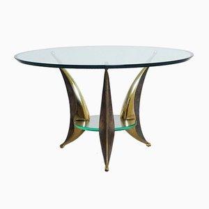 Mesa de comedor italiana escultural de vidrio y latón, años 50