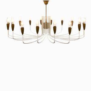 Italian White Brass Chandelier, 1950s