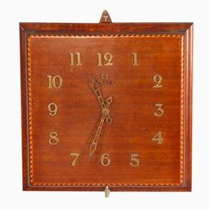 Reloj de pared de marquetería de caoba de Omega, años 50