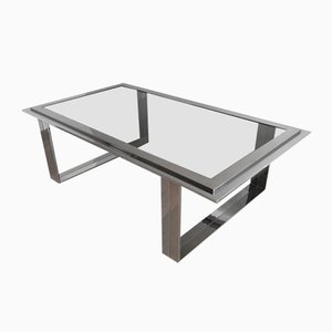 Table Basse Mid-Century en Chrome et en Laiton, 1970s