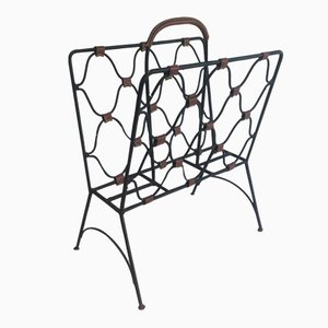 Leather and Lacquered Metal Magazine Rack by Jacques Adnet