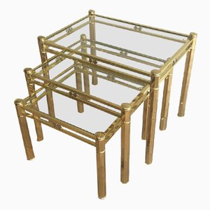 Tables Gigognes en Laiton, 1970s, Set de 3