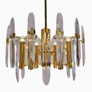 Brass Chandelier with Crystals and 9 Lights by Gaetano Sciolari