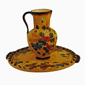 Antique Vallaruris Pitcher and Saucer