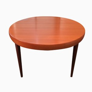 Mid-Century Teak Scandinavian Style Round Table with Double Extensions