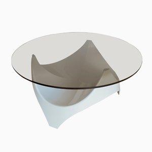 Mid-Century Couchtisch mit Tischplatte aus Rauchglas von Opal Möbel, 1960er