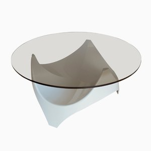 Tavolino da caffè Mid-Century in vetro fumé di Opal Möbel, anni '60