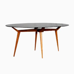 Mid-Century Italian Crystal and Wood Oval Table by G.L Giordani, 1950s