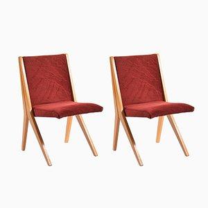 Slowakische Bordeaux Stühle aus Eiche, 1970er, 2er Set