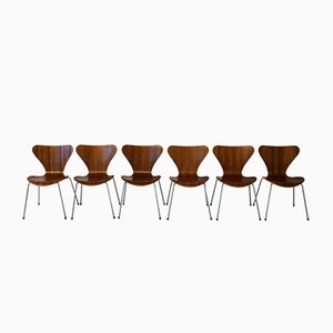 Danish 3107 Teak Chairs by Arne Jacobsen for Fritz Hansen, Set of 6